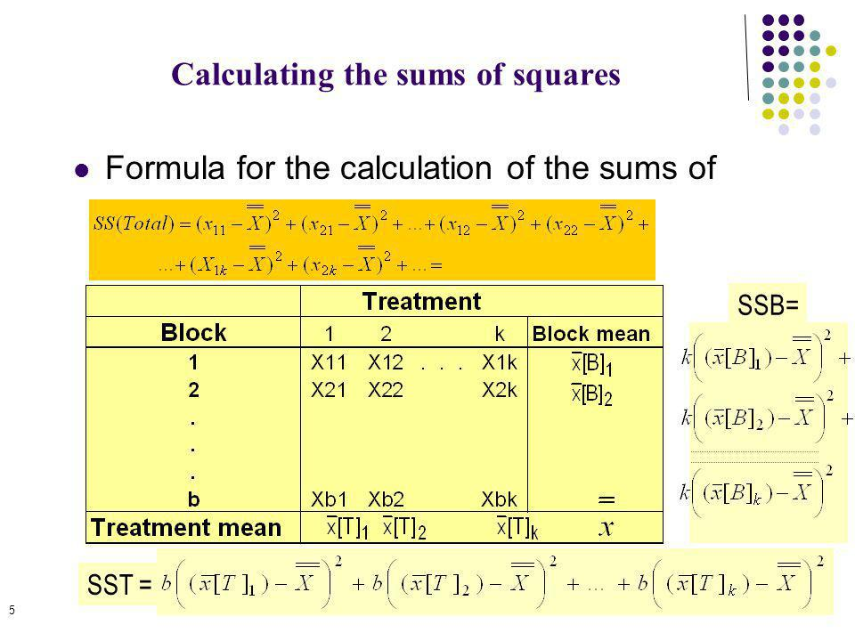 5 Calculating the sums of squares Formula for the calculation of the sums of squares SST = SSB=