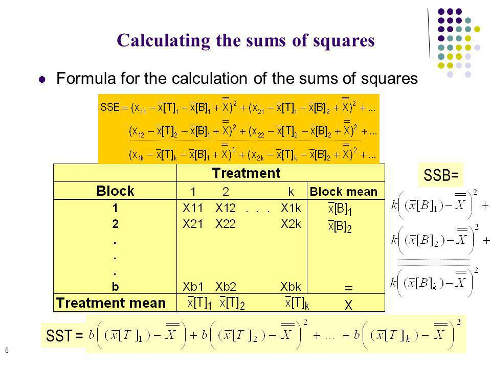6 Calculating the sums of squares Formula for the calculation of the sums of squares SST = SSB=