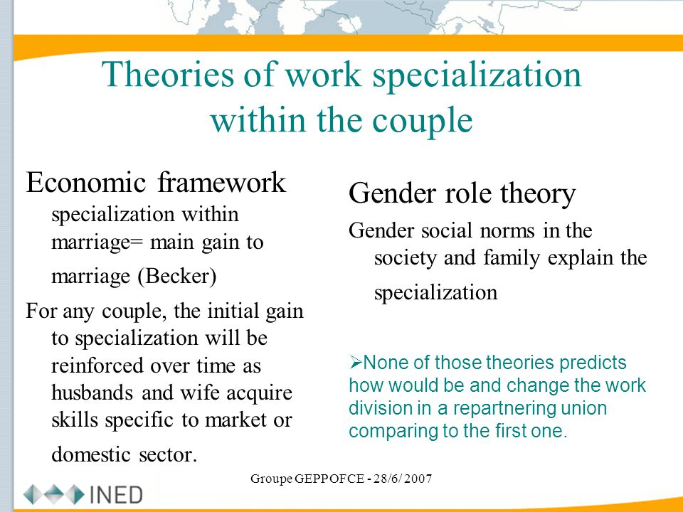 Groupe GEPP OFCE - 28/6/ 2007 Theories of work specialization within the couple Economic framework specialization within marriage= main gain to marriage (Becker) For any couple, the initial gain to specialization will be reinforced over time as husbands and wife acquire skills specific to market or domestic sector.