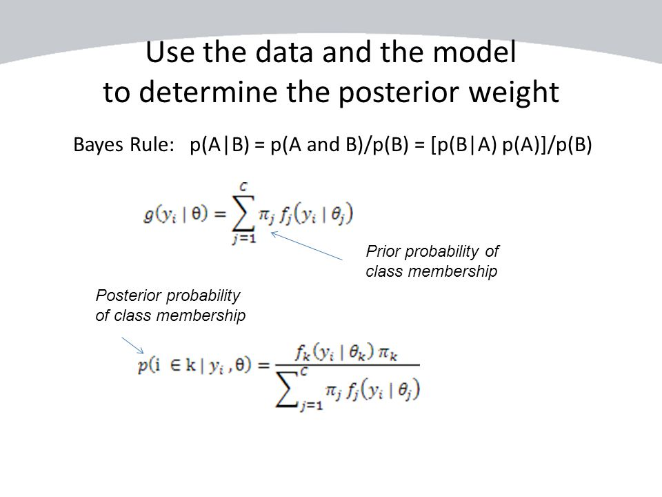 Use the data and the model to determine the posterior weight Bayes Rule: p(A|B) = p(A and B)/p(B) = [p(B|A) p(A)]/p(B) Prior probability of class memb