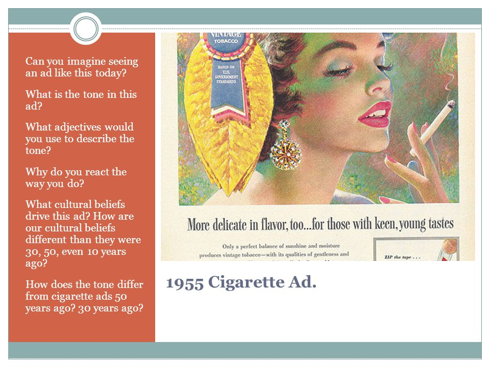 1955 Cigarette Ad. Can you imagine seeing an ad like this today? What is the tone in this ad? What adjectives would you use to describe the tone? Why
