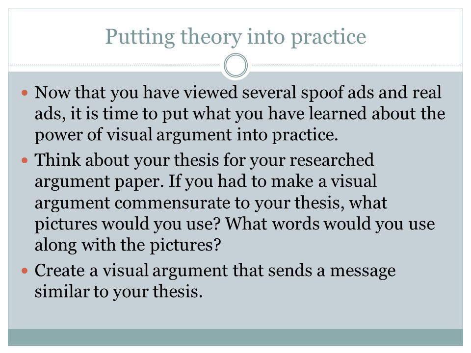 Putting theory into practice Now that you have viewed several spoof ads and real ads, it is time to put what you have learned about the power of visual argument into practice.