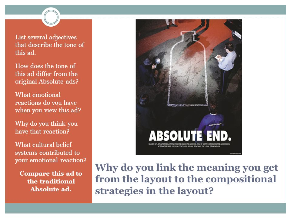 Why do you link the meaning you get from the layout to the compositional strategies in the layout? List several adjectives that describe the tone of t