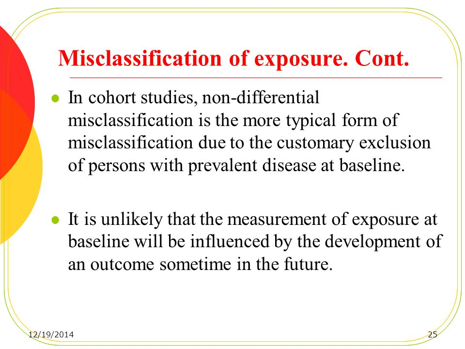 Misclassification of exposure. Cont.