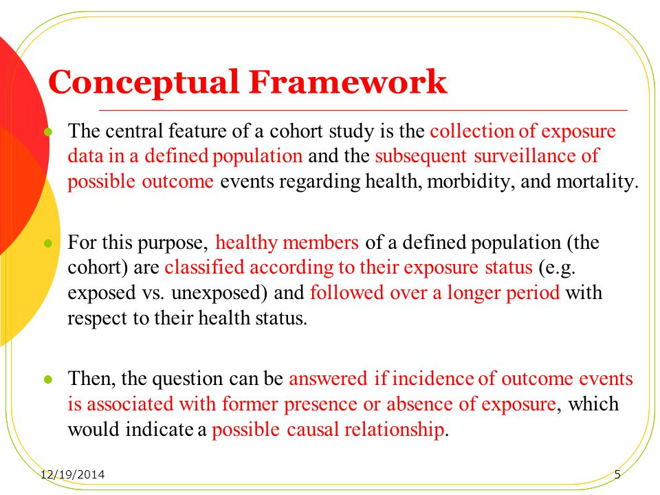 Conceptual Framework The central feature of a cohort study is the collection of exposure data in a defined population and the subsequent surveillance