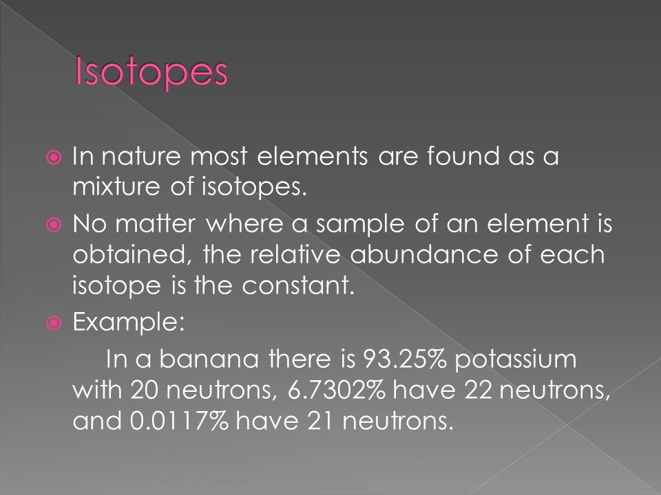  In nature most elements are found as a mixture of isotopes.  No matter where a sample of an element is obtained, the relative abundance of each iso