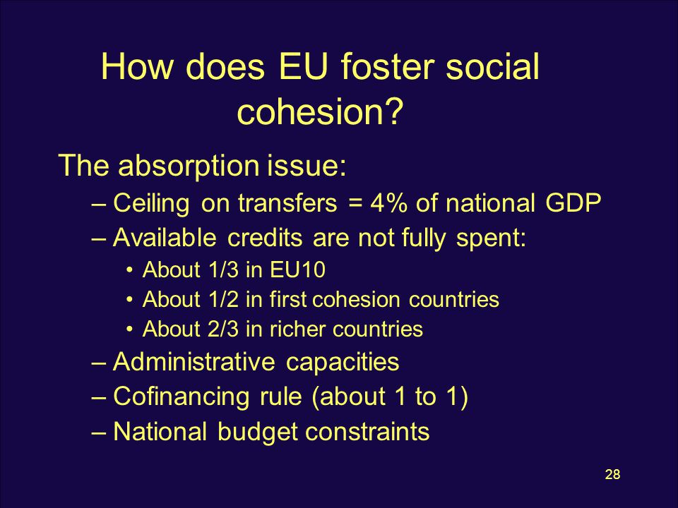 28 How does EU foster social cohesion.