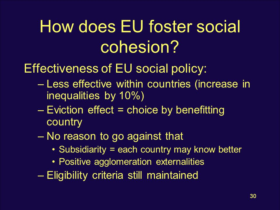 30 How does EU foster social cohesion.