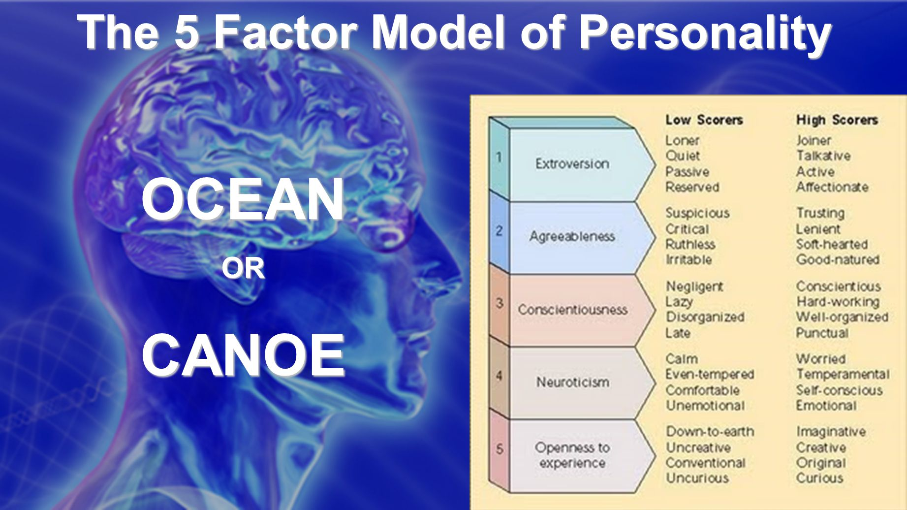 The 5 Factor Model of Personality OCEANORCANOE