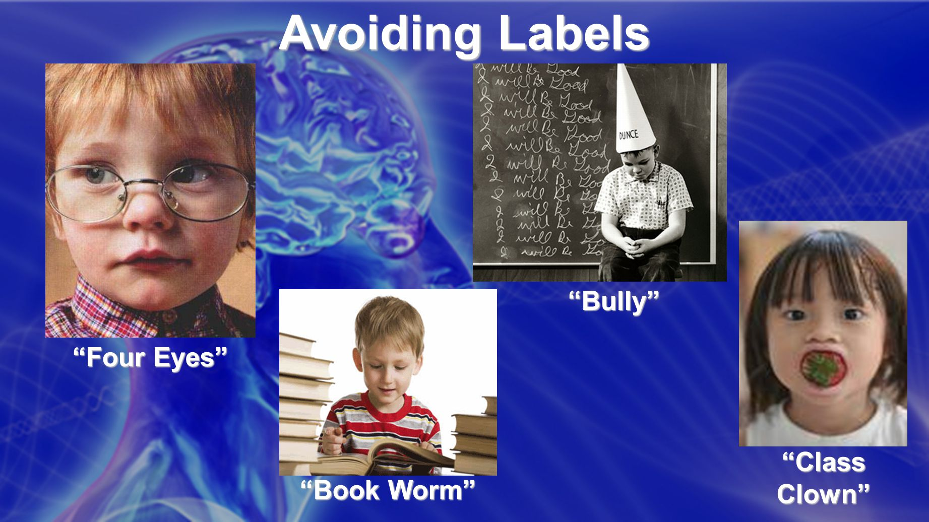 Avoiding Labels Four Eyes Book Worm Bully Class Clown