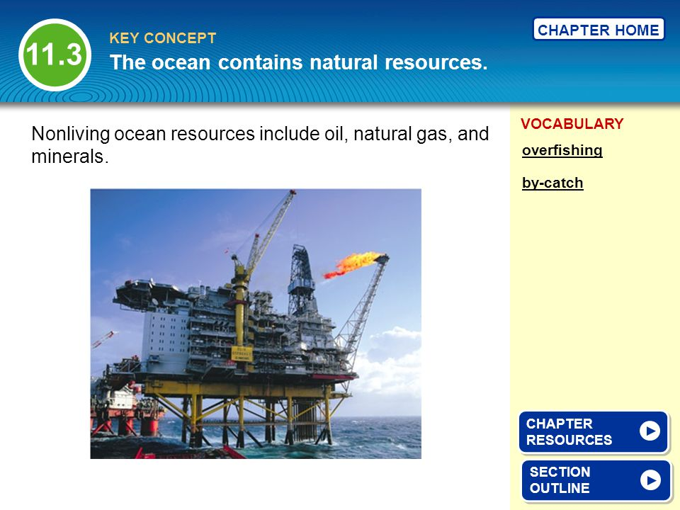 VOCABULARY KEY CONCEPT CHAPTER HOME SECTION OUTLINE SECTION OUTLINE The ocean contains natural resources. overfishing by-catch Nonliving ocean resourc