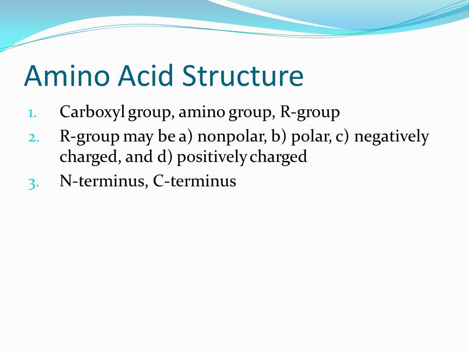 Amino Acid Structure 1. Carboxyl group, amino group, R-group 2.