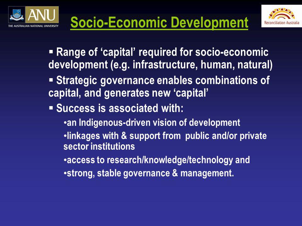 Socio-Economic Development  Range of 'capital' required for socio-economic development (e.g. infrastructure, human, natural)  Strategic governance e