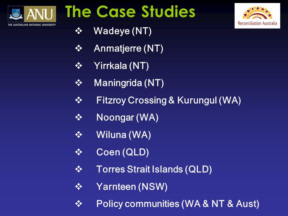  Wadeye (NT)  Anmatjerre (NT)  Yirrkala (NT)  Maningrida (NT)  Fitzroy Crossing & Kurungul (WA)  Noongar (WA)  Wiluna (WA)  Coen (QLD)  Torre