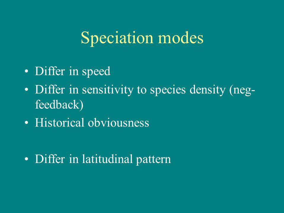 Speciation modes Differ in speed Differ in sensitivity to species density (neg- feedback) Historical obviousness Differ in latitudinal pattern
