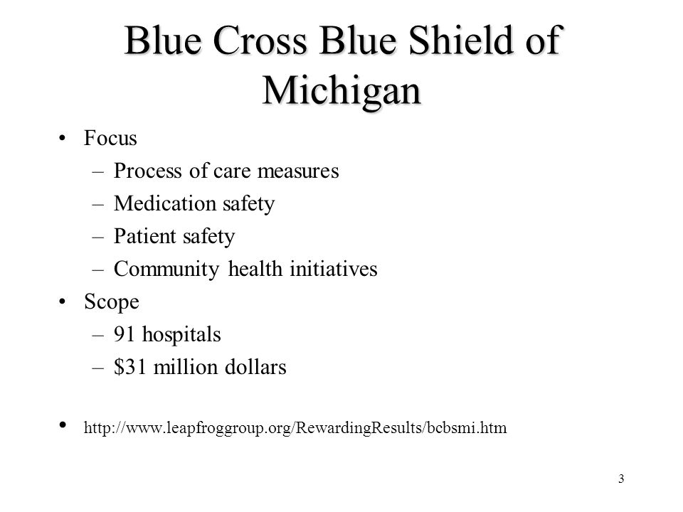 3 Blue Cross Blue Shield of Michigan Focus –Process of care measures –Medication safety –Patient safety –Community health initiatives Scope –91 hospitals –$31 million dollars http://www.leapfroggroup.org/RewardingResults/bcbsmi.htm