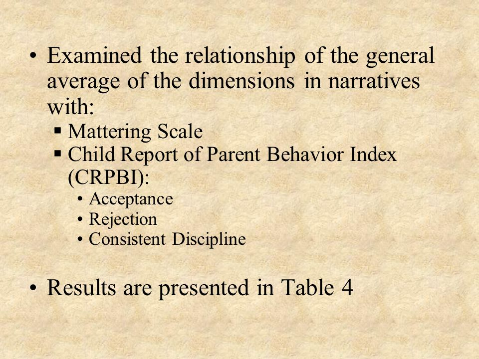 Examined the relationship of the general average of the dimensions in narratives with:  Mattering Scale  Child Report of Parent Behavior Index (CRPBI): Acceptance Rejection Consistent Discipline Results are presented in Table 4