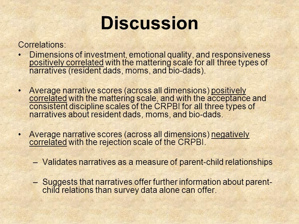 Discussion Correlations: Dimensions of investment, emotional quality, and responsiveness positively correlated with the mattering scale for all three types of narratives (resident dads, moms, and bio-dads).