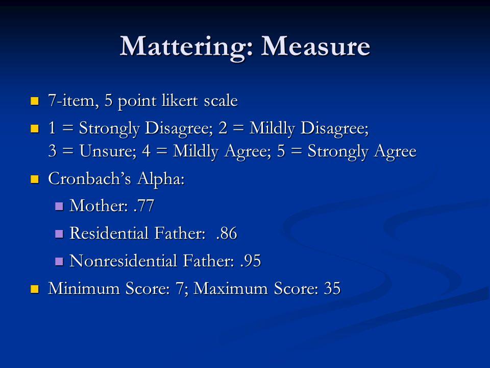 Mattering: Measure 7-item, 5 point likert scale 7-item, 5 point likert scale 1 = Strongly Disagree; 2 = Mildly Disagree; 3 = Unsure; 4 = Mildly Agree; 5 = Strongly Agree 1 = Strongly Disagree; 2 = Mildly Disagree; 3 = Unsure; 4 = Mildly Agree; 5 = Strongly Agree Cronbach's Alpha: Cronbach's Alpha: Mother:.77 Mother:.77 Residential Father:.86 Residential Father:.86 Nonresidential Father:.95 Nonresidential Father:.95 Minimum Score: 7; Maximum Score: 35 Minimum Score: 7; Maximum Score: 35