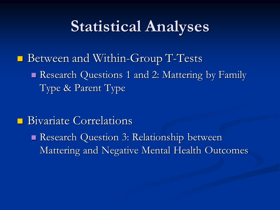 Statistical Analyses Between and Within-Group T-Tests Between and Within-Group T-Tests Research Questions 1 and 2: Mattering by Family Type & Parent Type Research Questions 1 and 2: Mattering by Family Type & Parent Type Bivariate Correlations Bivariate Correlations Research Question 3: Relationship between Mattering and Negative Mental Health Outcomes Research Question 3: Relationship between Mattering and Negative Mental Health Outcomes