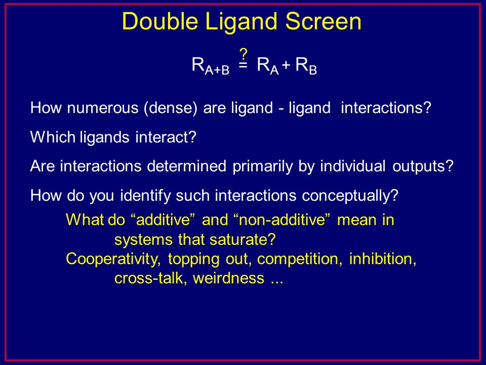 Double Ligand Screen How numerous (dense) are ligand - ligand interactions? Which ligands interact? Are interactions determined primarily by individua