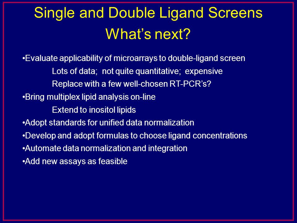 Title Single and Double Ligand Screens What's next.