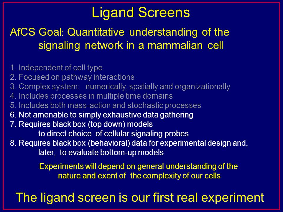 Ligand Screens AfCS Goal : Quantitative understanding of the signaling network in a mammalian cell 1.