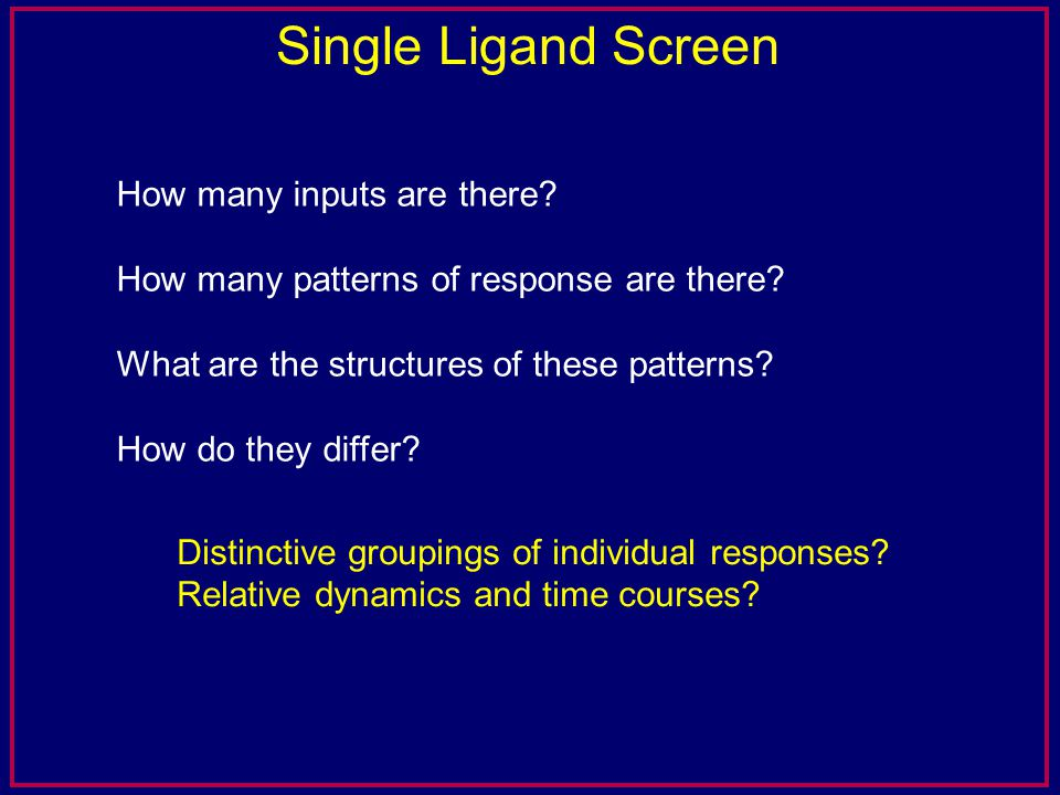 Single Ligand Screen How many inputs are there? How many patterns of response are there? What are the structures of these patterns? How do they differ