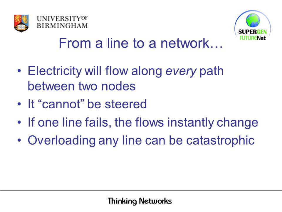 From a line to a network… Electricity will flow along every path between two nodes It cannot be steered If one line fails, the flows instantly change Overloading any line can be catastrophic
