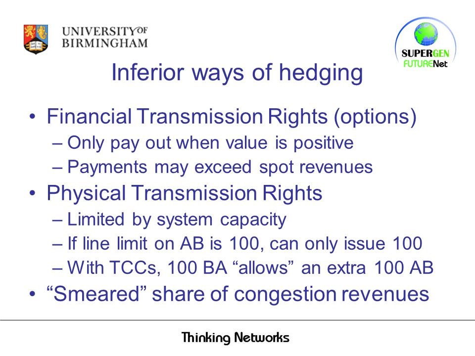 Inferior ways of hedging Financial Transmission Rights (options) –Only pay out when value is positive –Payments may exceed spot revenues Physical Transmission Rights –Limited by system capacity –If line limit on AB is 100, can only issue 100 –With TCCs, 100 BA allows an extra 100 AB Smeared share of congestion revenues