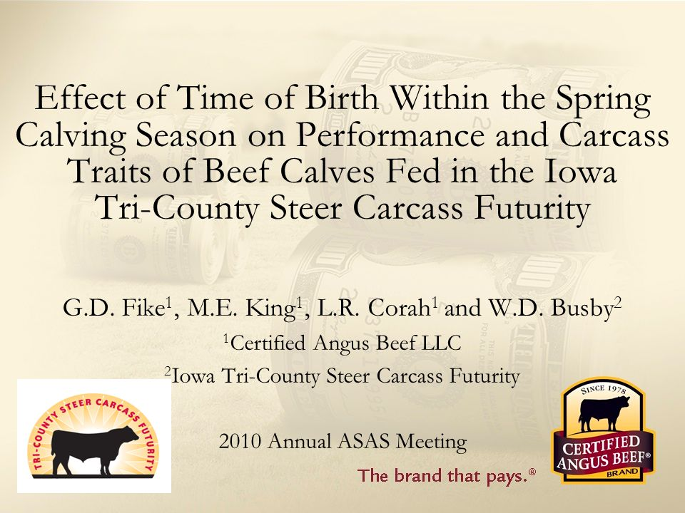 Effect of Time of Birth Within the Spring Calving Season on Performance and Carcass Traits of Beef Calves Fed in the Iowa Tri-County Steer Carcass Futurity G.D.