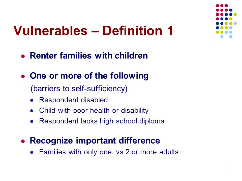 5 Vulnerable share (Wave 1, Definition 1) 33% of all families with children 39% of those with only one adult%