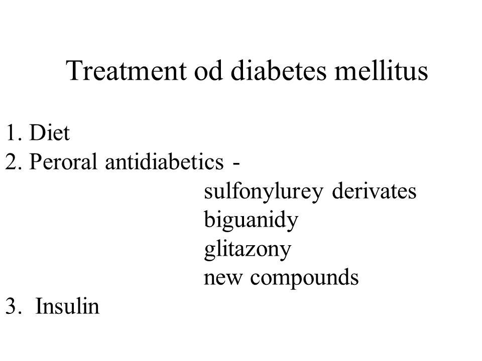Treatment od diabetes mellitus 1. Diet 2.