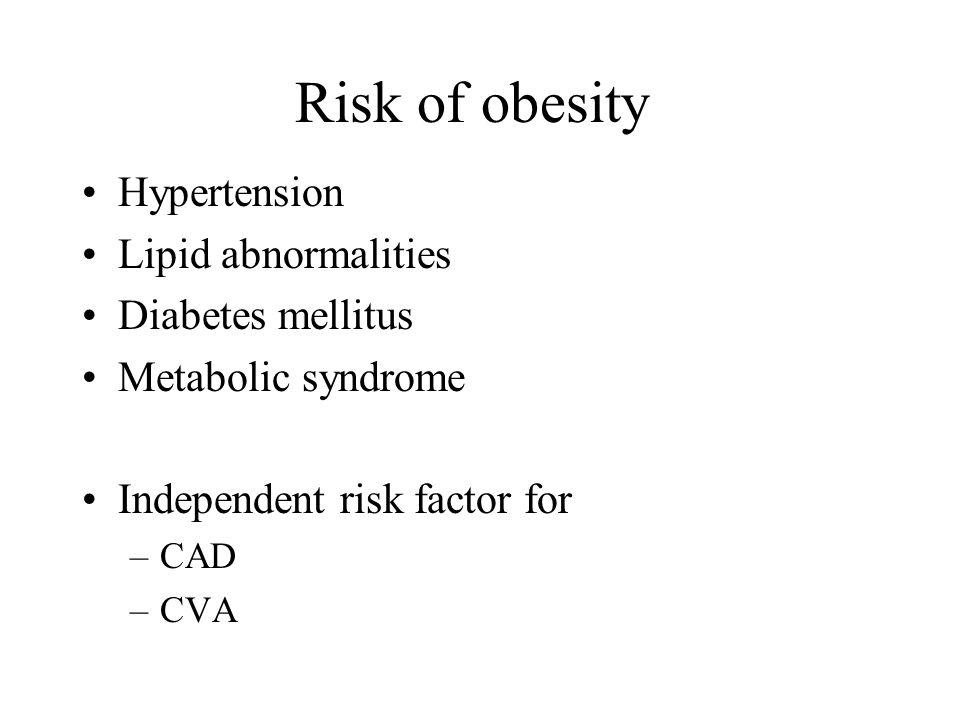 Risk of obesity Hypertension Lipid abnormalities Diabetes mellitus Metabolic syndrome Independent risk factor for –CAD –CVA