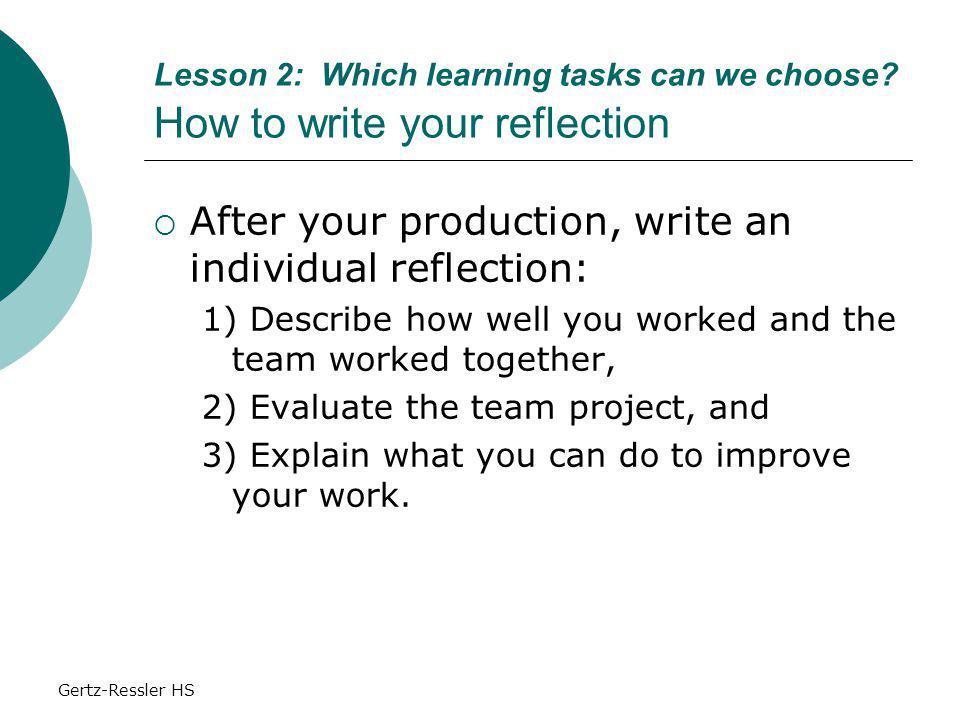 Gertz-Ressler HS Lesson 2: Which learning tasks can we choose.