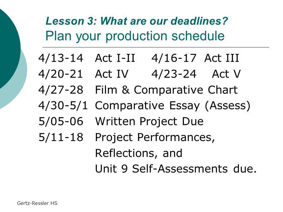 Gertz-Ressler HS Lesson 3: What are our deadlines.