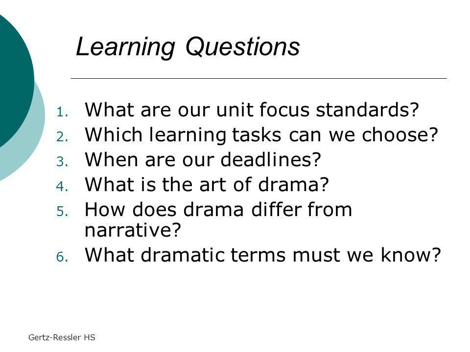 Gertz-Ressler HS 1. What are our unit focus standards.