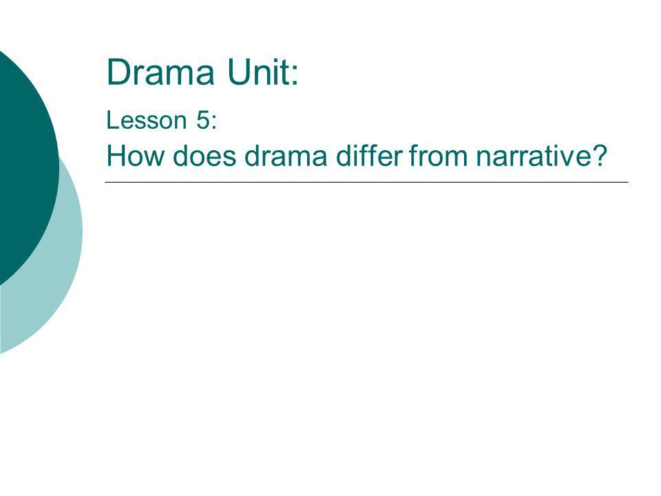 Drama Unit: Lesson 5: How does drama differ from narrative?