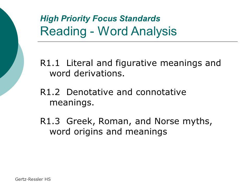 Gertz-Ressler HS High Priority Focus Standards Reading - Word Analysis R1.1 Literal and figurative meanings and word derivations.