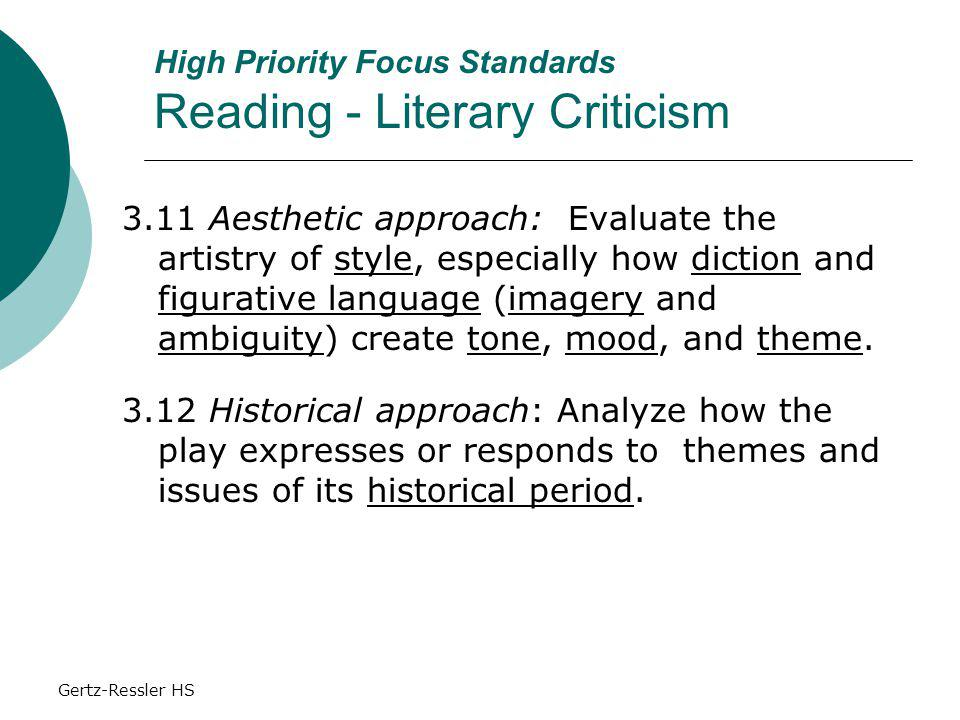 Gertz-Ressler HS High Priority Focus Standards Reading - Literary Criticism 3.11 Aesthetic approach: Evaluate the artistry of style, especially how diction and figurative language (imagery and ambiguity) create tone, mood, and theme.