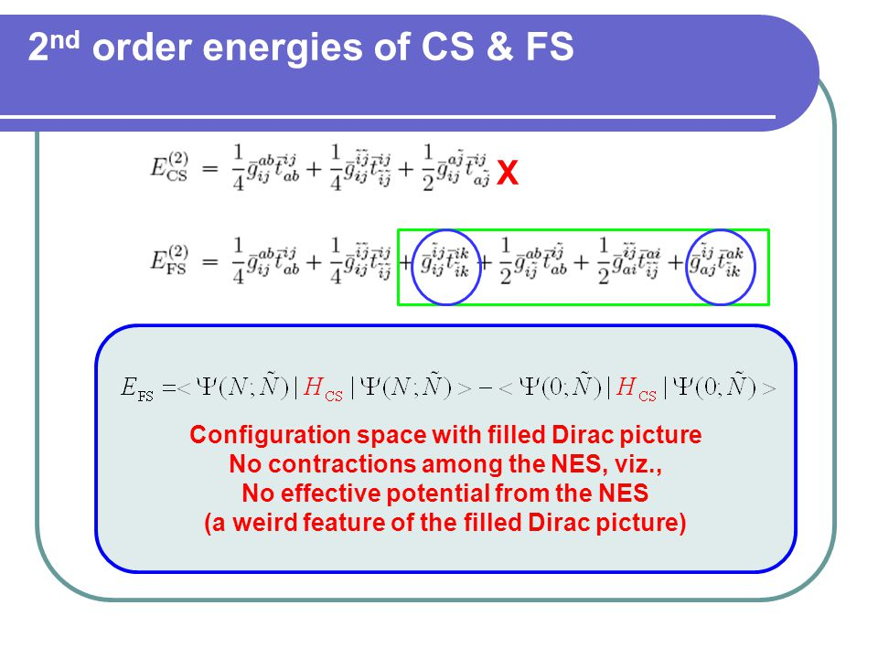 2 nd order energies of CS & FS X Configuration space with filled Dirac picture No contractions among the NES, viz., No effective potential from the NES (a weird feature of the filled Dirac picture)