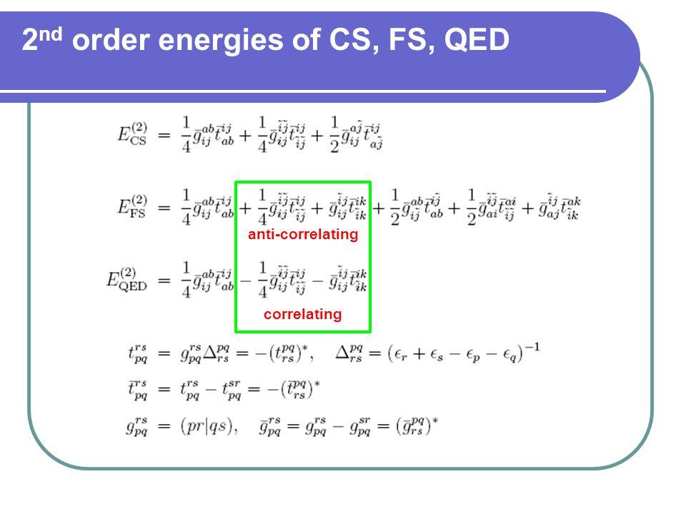 2 nd order energies of CS, FS, QED correlating anti-correlating