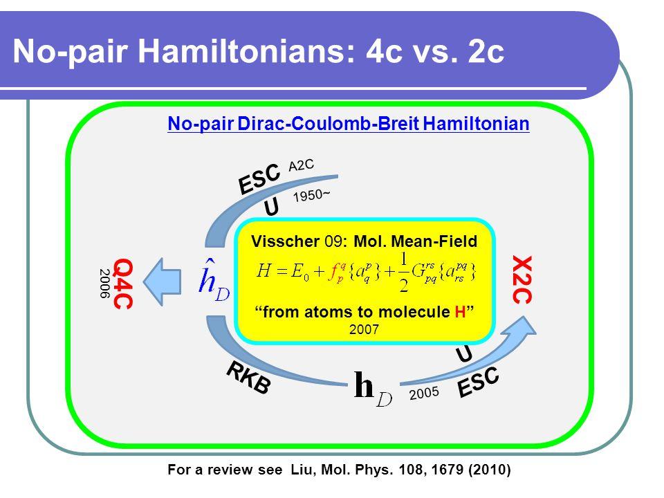 RI-RKB ESC U X2C ESC RKB U No-pair Dirac-Coulomb-Breit Hamiltonian For a review see Liu, Mol.