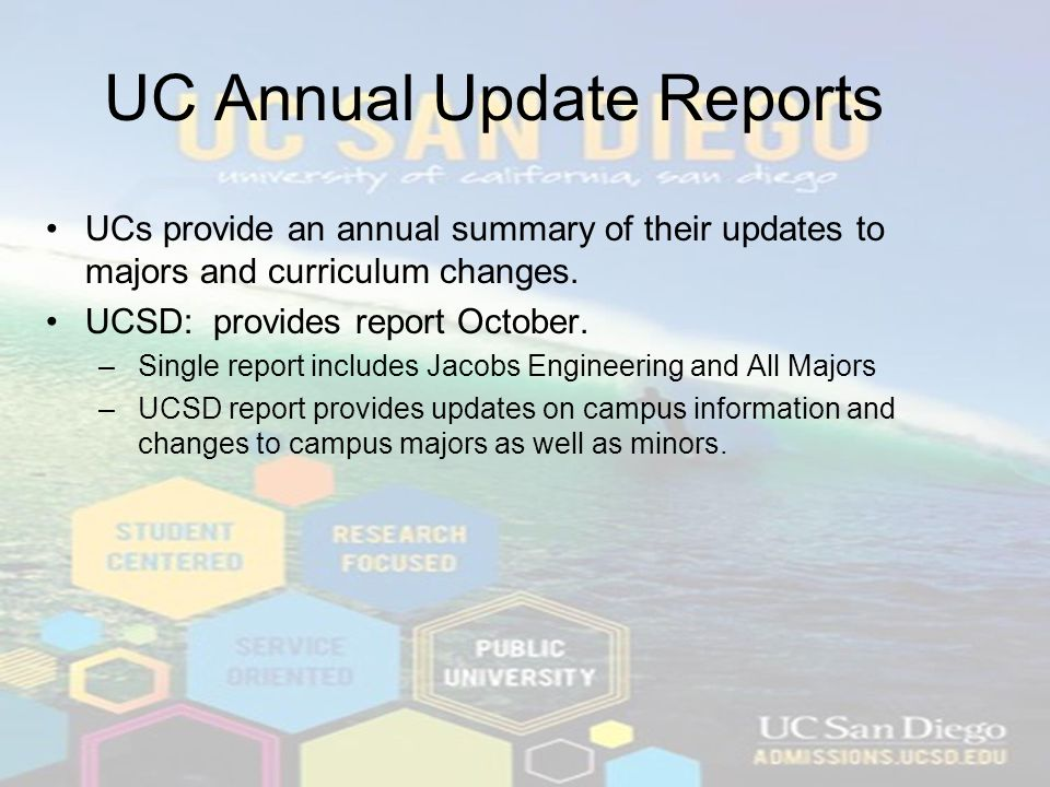 UC Annual Update Reports UCs provide an annual summary of their updates to majors and curriculum changes.