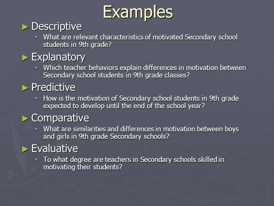 Examples ► Descriptive  What are relevant characteristics of motivated Secondary school students in 9th grade.