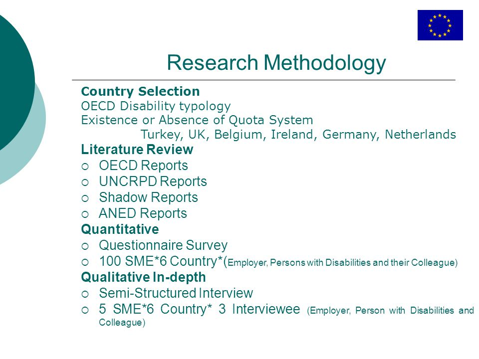 Research Methodology Country Selection OECD Disability typology Existence or Absence of Quota System Turkey, UK, Belgium, Ireland, Germany, Netherland