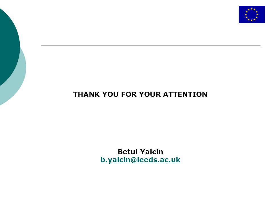 THANK YOU FOR YOUR ATTENTION Betul Yalcin b.yalcin@leeds.ac.uk