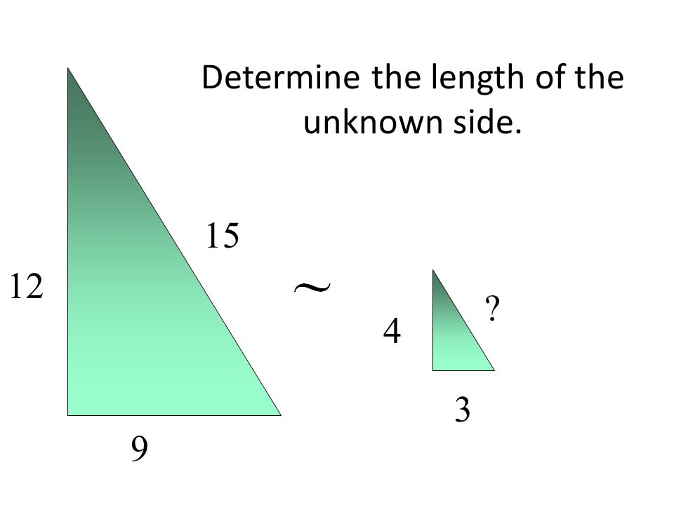 Determine the length of the unknown side. 12 9 15 4 3 ?