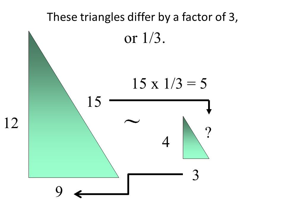 These triangles differ by a factor of 3, 12 9 15 4 3 ? 15 x 1/3 = 5 or 1/3.