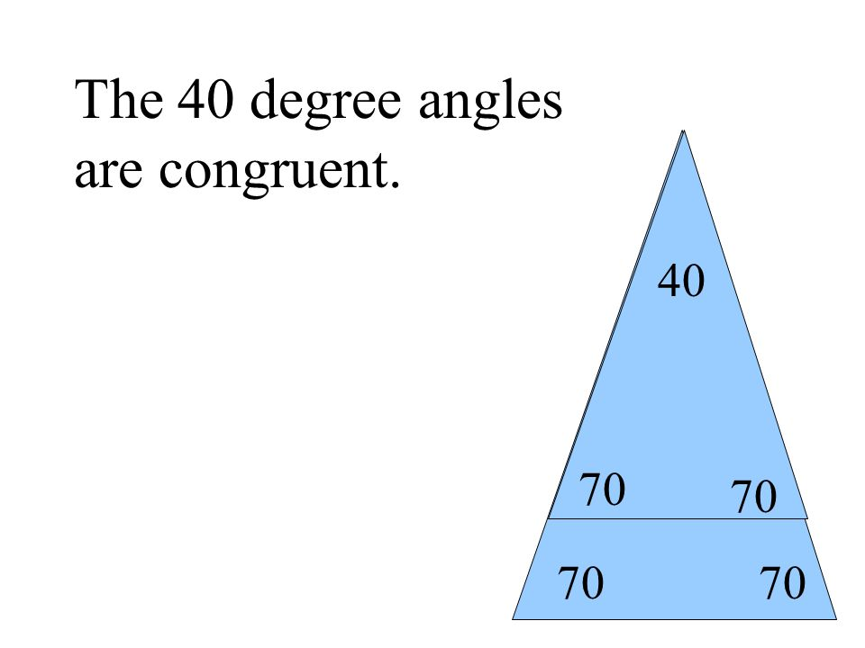 70 40 The 40 degree angles are congruent.